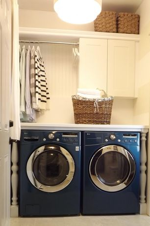 Cottage Laundry Room with Lg front load washer and dryer set, Beadboard