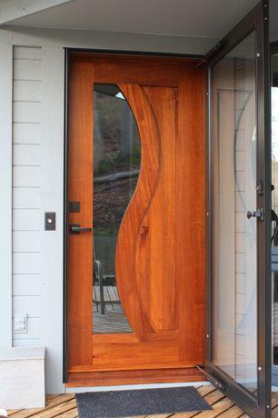 Modern Front Door with 36 in. x 80 in. 2000 Series Bronze Full View Storm Door, French doors, Borano Custom Exterior Doors