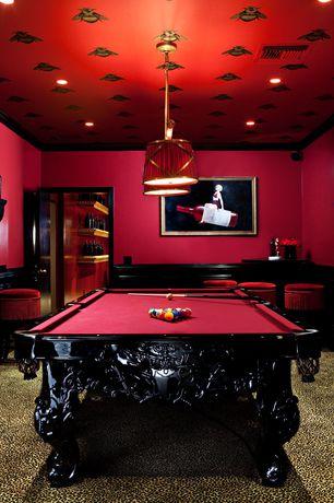 Contemporary Game Room with Built-in bookshelf, Carpet, Pendant light