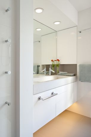 """Modern Master Bathroom with Concrete, European Cabinets, Flush, Simple marble counters, White Glass 4"""" x 12"""" Subway Tile"""