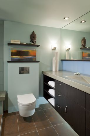 Modern Full Bathroom with Paint 1, porcelain tile floors, Stainless steel counters, Wall mounted toilet, Standard height
