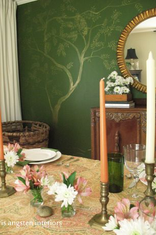 Traditional Dining Room with Safavieh leaf crown sunburst mirror, Wisteria large woven seagrass basket