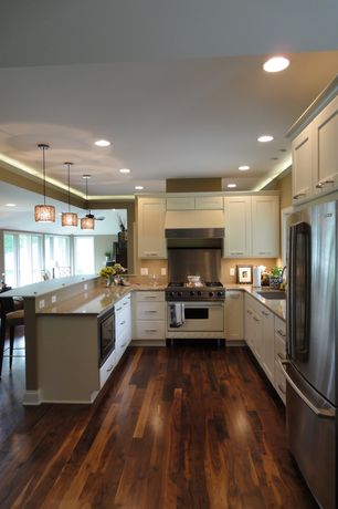 Contemporary Kitchen with Undermount sink, U-shaped, Armstrong Flooring - Acacia in Woodland Twig, Pendant light