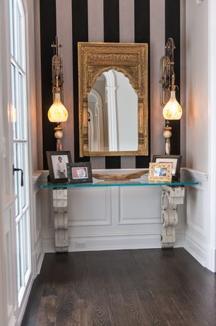 Traditional Entryway with interior wallpaper, Toltec lighting elegante mini pendant, Paint, Moroccan style mirror, Chair rail