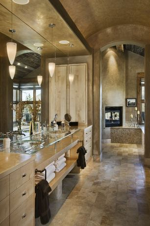 Contemporary Master Bathroom with LBL Lighting Tear Drop Wall Sconce, Ms international emperador light