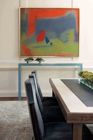 Contemporary Dining Room with Chair rail, Standard height, Hardwood floors