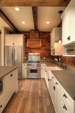 "Country Kitchen with PentalQuartz Sandcastle BS4000, Custom hood, Kitchen island, Wolf 30"" Gas Range GR304, Natural wood"