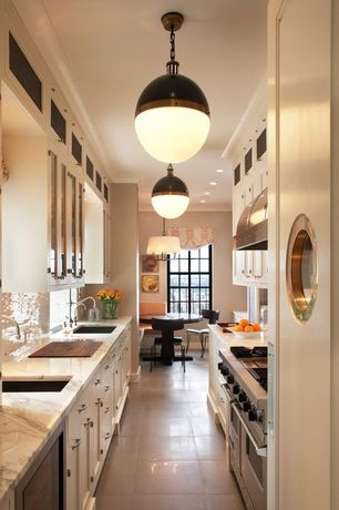 Contemporary Kitchen with Subway tile outlet stainless steel mosaic tile 1x2, flush light, Complex marble counters, Galley