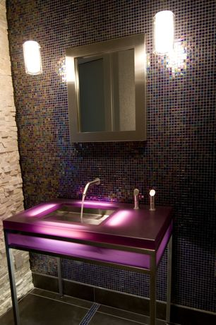 Contemporary Powder Room with Glass counters, Oceanside Glass Tile Facets Tahoe #028, Pendant light, Powder room