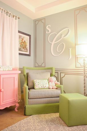Contemporary Kids Bedroom with Monogram Wall Letters, Craftcuts.com painted wooden wall initials, Surya - Centennial CNT 1099