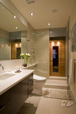 Contemporary 3/4 Bathroom with Rain shower, Undermount sink, Flush, Vinyl floors, Multi-color river stone mat