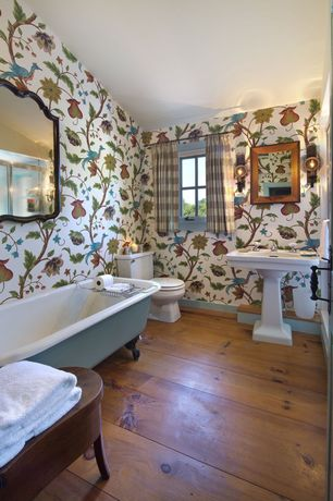 Traditional Full Bathroom with Hardwood floors, Stone Source, RECLAIMED WORMY CHESTNUT,Natural Oil, Graham Brown, Romany Red