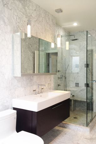 Contemporary Master Bathroom with Handheld showerhead, specialty door, Rain shower, Standard height, three quarter bath