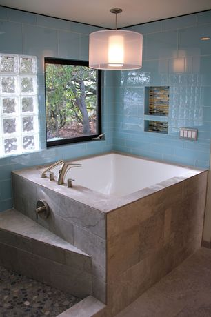 Contemporary Master Bathroom with Glass block window, Master bathroom, Tile, Pendant light, Stained glass window
