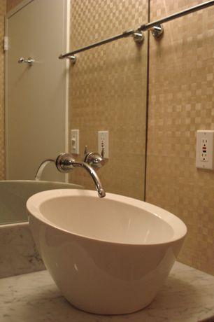 Contemporary Powder Room with Ms international calacatta carrara marble