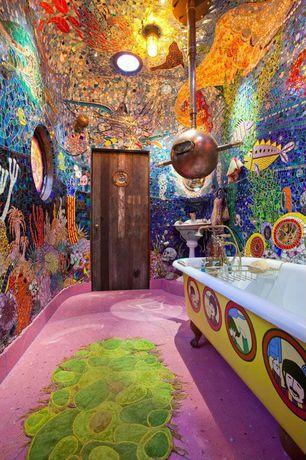Full Bathroom with Custom area carpet, Reclaimed wood door, Carpet crafts, Gussow mosaics, Mosaic wall design