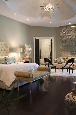 Contemporary Master Bedroom with Engineered bamboo flooring, Jennifer taylor savannah roll arm polyster bedroom bench