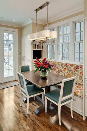 Contemporary Kitchen with Breakfast nook, Oak - Honey 2 1/4 in. Solid Hardwood Strip, Paint