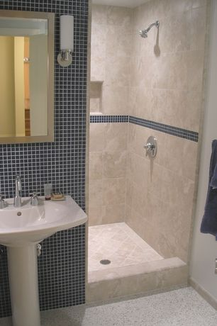 Contemporary 3/4 Bathroom with Arizona Tile, Antalya, Travertine., Saber 1 Light Bath Vanity Light by George Kovacs