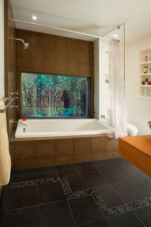 Contemporary Full Bathroom with Frameless glass shower door, Wood countertop, Paint 1