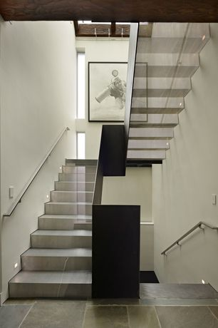 Contemporary Staircase with Metal staircase, flush light, Exposed beam, Concrete tile , High ceiling