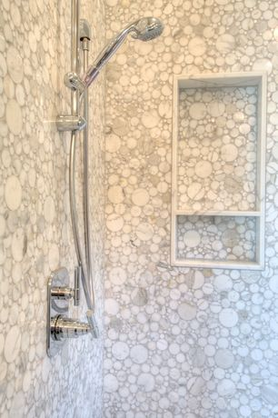 Contemporary Master Bathroom with Carrara white italian carrera marble bubble round mosaic tile honed, High ceiling
