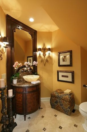 Traditional Powder Room with Flush, European Cabinets, Standard height, full backsplash, Complex marble counters, Paint 1