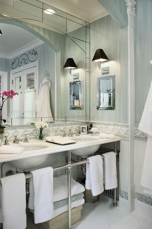 Traditional Full Bathroom with French doors, Transom window, Akdo Waves Border Mosaic Tile, Akdo Carrara Bella Marble Tile