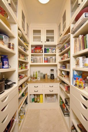 Traditional Pantry with Porcelain floor and wall tile