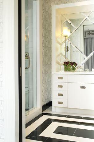 Art Deco Full Bathroom with Corian counters, Wall sconce, Full Bath, beveled edge mirror panels, Flush, European Cabinets