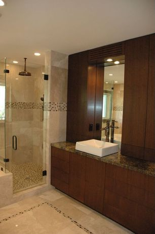 Contemporary Master Bathroom with Rain shower, MS International Desert Dream Granite, Farmhouse sink, Flush