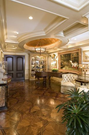 Traditional Entryway with Laminate floors, Built-in bookshelf, Chandelier, six panel door, Standard height, can lights