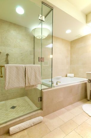 Contemporary Master Bathroom with Bathtub, can lights, frameless showerdoor, Master bathroom, Shower, flush light