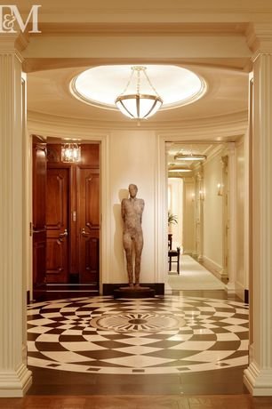 Traditional Entryway with Standard height, Crown molding, Laminate floors, flush light