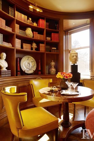Contemporary Living Room with Standard height, Jonty Leather Chair, Crown molding, Built-in bookshelf, Cooper Round Table