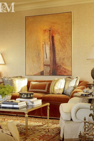 Traditional Living Room with Nathan Oliveira, via The John Berggruen Gallery, Crown molding, Carpet