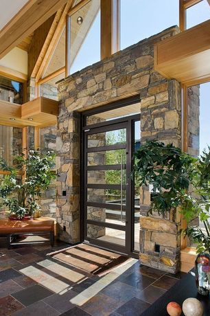 Rustic Entryway with Ms international multi classic slate, Eldorado stone top rock - la quinta