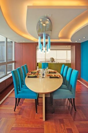 "Contemporary Dining Room with Pendant light, LM Flooring Kendall Exotics 3"" Engineered Brazilian Cherry Flooring in Natural"