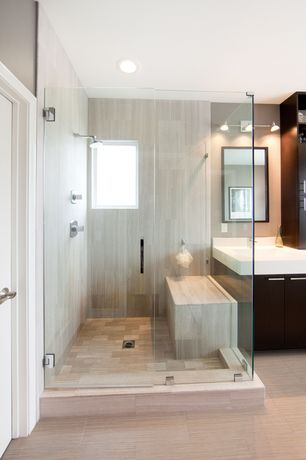Contemporary Master Bathroom with Vinyl floors, Classico blanco glazed porcelain floor and wall tile, Rain shower, can lights