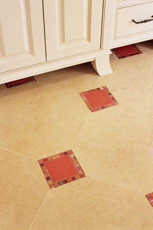 Modern Full Bathroom with Daltile Natural Hues Roma Red Ceramic Field Tile, stone tile floors
