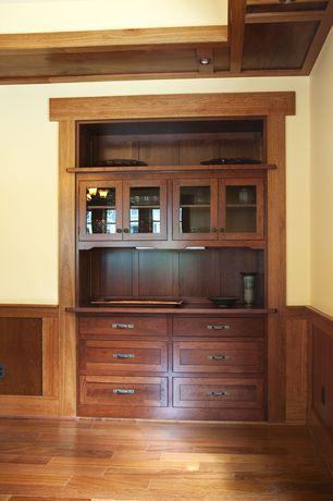 Craftsman Bar with Chair rail, Standard height, Hardwood floors, can lights, Wainscotting