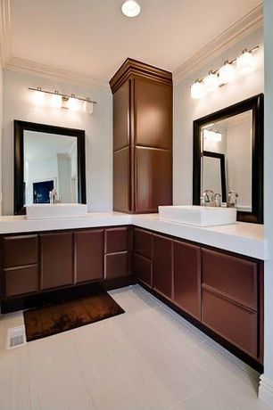Modern Master Bathroom with 19-inch White Rectangular Bathroom Vessel Sink with No Overflow, Quartz counters, Vessel sink