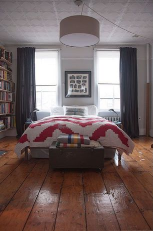 Contemporary Master Bedroom with Hardwood floors, Built-in bookshelf, PATTERN #18, flush light