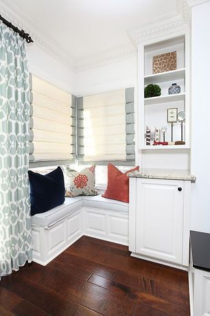 Contemporary Kitchen with Built-in bookshelf, Window seat, Restoration Hardware Appliqued Frame Cotton Canvas Roman Shade