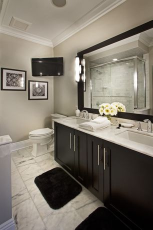 Contemporary Master Bathroom with complex marble tile floors, Calacatta carrara, Double sink, frameless showerdoor, Limestone