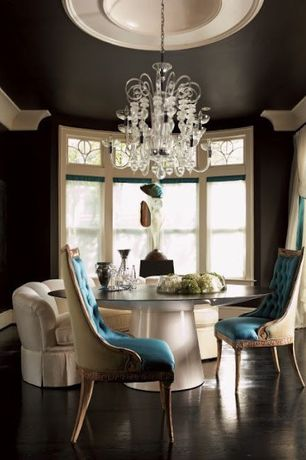 Contemporary Dining Room with Younger furniture joel sectional, Reupholstered antique chairs, Neoclassical chair