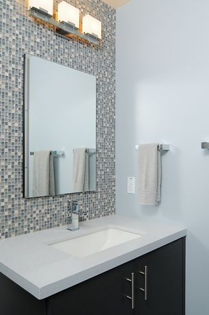 Contemporary Powder Room with Ikea: lansa kitchen hardware, Sonneman Cubist 3 Light Bath Bar, Paint