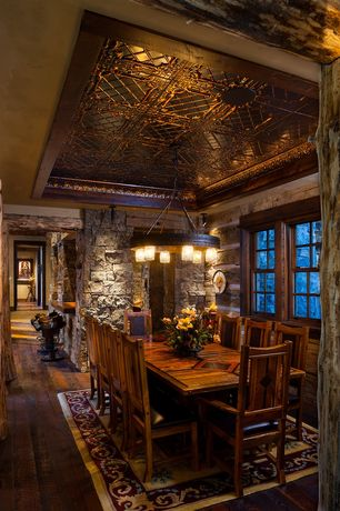Rustic Dining Room with Stacked stone wall facade, Tin ceiling panels, Hardwood floors