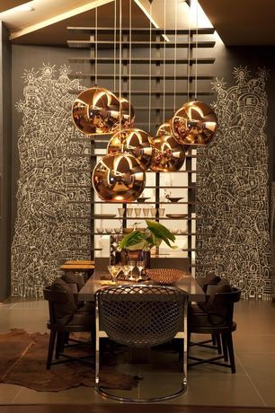 Contemporary Dining Room with Copper shade pendant, Natural hide rug