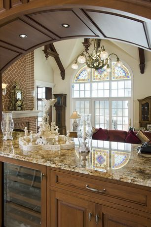 Traditional Bar with Exposed beam, Arched window, French doors, Cathedral ceiling, Carpet, Chandelier, Transom window